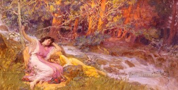 stream Painting - Reclining By A Stream Frederick Arthur Bridgman