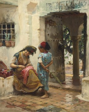 Frederick Arthur Bridgman Painting - THE SEWING LESSON Frederick Arthur Bridgman