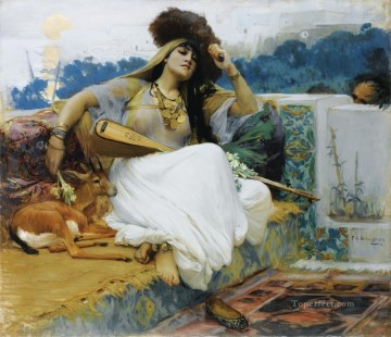 YOUNG WOMAN ON A TERRACE JEUNE FEMME SUR UNE TERRASSE Frederick Arthur Bridgman Oil Paintings