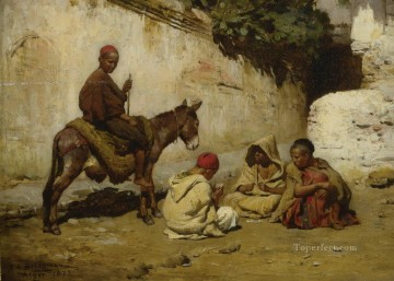 ARAB CHILDREN PLAYING CARDS Frederick Arthur Bridgman Oil Paintings