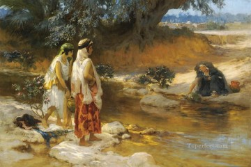 Frederick Arthur Bridgman Painting - AT THE WATERs EDGE Frederick Arthur Bridgman