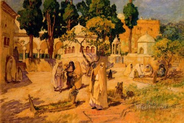 Frederick Arthur Bridgman Painting - Arab Women at the Town Wall Frederick Arthur Bridgman