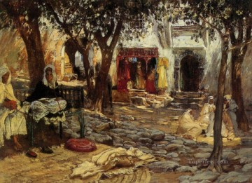 Frederick Arthur Bridgman Painting - Idle Moments An Arab Courtyard Frederick Arthur Bridgman