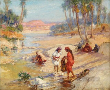 stream Painting - WOMEN WASHING CLOTHES IN A STREAM Frederick Arthur Bridgman