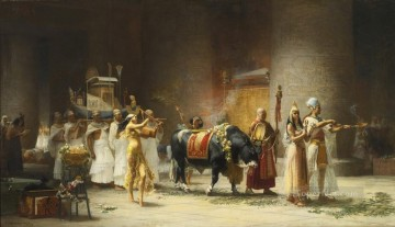 cattle bull cow Painting - The Procession of the Sacred Bull Anubis Frederick Arthur Bridgman