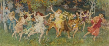 lion - dancing fairies on lion in forest girls woman beauty Frederick Arthur Bridgman