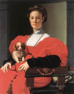 on - Portrait of a Lady with a Puppy Florence Agnolo Bronzino