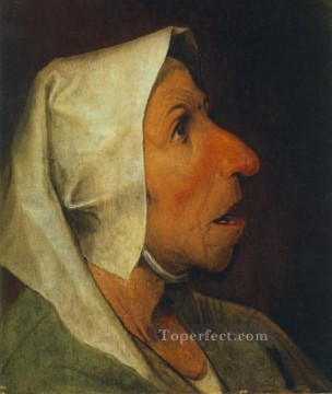 old Painting - Portrait Of An Old Woman Flemish Renaissance peasant Pieter Bruegel the Elder