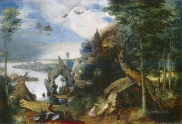Landscape With The Temptation Of Saint Anthony Flemish Renaissance peasant Pieter Bruegel the Elder Oil Paintings