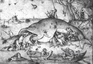 pieter bruegel Painting - Big Fishes Eat Little Fishes Flemish Renaissance peasant Pieter Bruegel the Elder