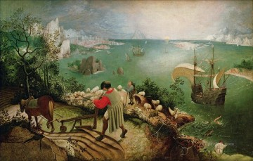 renaissance Painting - Landscape With The Fall Of Icarus Flemish Renaissance peasant Pieter Bruegel the Elder