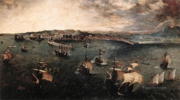 Naples Canvas - Naval battle In The Gulf Of Naples Flemish Renaissance peasant Pieter Bruegel the Elder