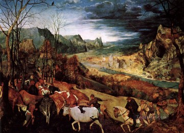 renaissance Painting - The Return of the Herd Flemish Renaissance peasant Pieter Bruegel the Elder