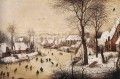 Winter Landscape With Skaters And Bird Trap Flemish Renaissance peasant Pieter Bruegel the Elder