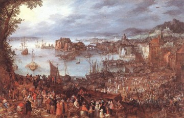 Great Fish Market Flemish Jan Brueghel the Elder Oil Paintings