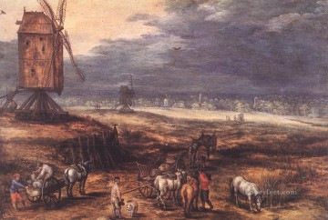 Landscape Art - Landscape With Windmills Flemish Jan Brueghel the Elder