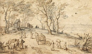 Jan Canvas - Villagers On Their Way To Market Flemish Jan Brueghel the Elder