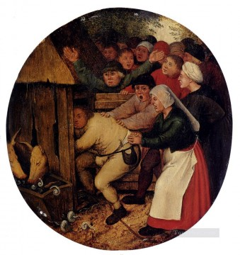 young Art - Pushed Into The Pig Sty peasant genre Pieter Brueghel the Younger