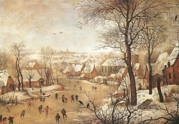 Landscape Art - Winter Landscape With A Bird Trap peasant genre Pieter Brueghel the Younger