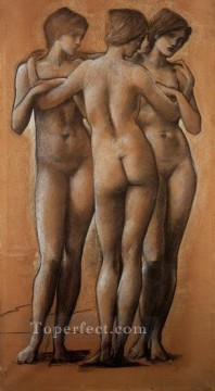 horse racing races sport Painting - The Three Graces PreRaphaelite Sir Edward Burne Jones