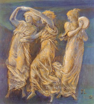 Dancing Art - ThreeFemale Figures Dancing And Playing PreRaphaelite Sir Edward Burne Jones