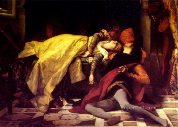 Francesca Painting - The Death of Francesca de Rimini and Paolo Malatesta Academicism Alexandre Cabanel