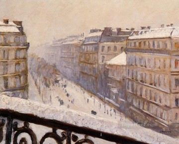 Boulevard Haussmann Snow Gustave Caillebotte Oil Paintings