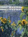 Sunflowers on the Banks of the Seine landscape Gustave Caillebotte