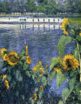 sunflower sunflowers Painting - Sunflowers on the Banks of the Seine landscape Gustave Caillebotte