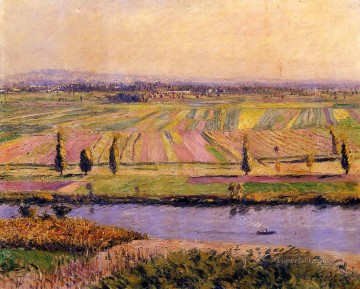 Argenteuil Canvas - The Gennevilliers Plain Seen from the Slopes of Argenteuil landscape Gustave Caillebotte