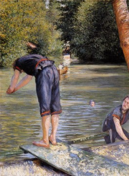 bath girl oil painting Painting - Bathers Gustave Caillebotte