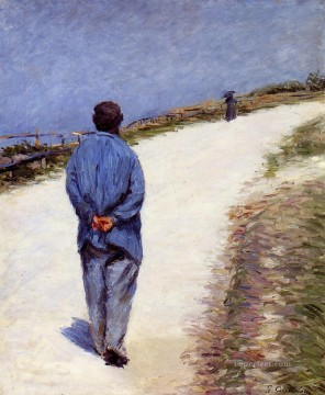Man in a Smock aka Father Magloire on the Road between Saint Clair and Etreta Gustave Caillebotte Oil Paintings