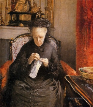 Artists Oil Painting - Portait of Madame Martial Caillebote the artists mother Gustave Caillebotte
