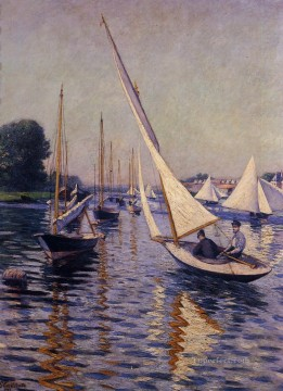 Argenteuil Canvas - Regatta at Argenteuil seascape Gustave Caillebotte