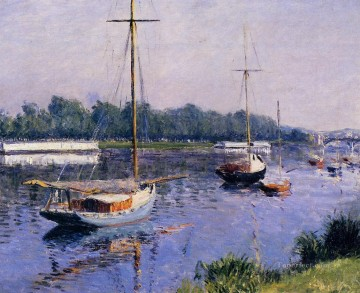 Argenteuil Canvas - The Basin at Argenteuil seascape Gustave Caillebotte