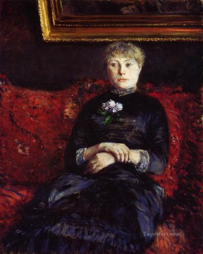 Woman Sitting on a Red Flowered Sofa Gustave Caillebotte Oil Paintings