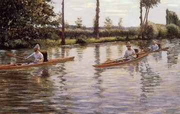 aka - Perissoires sur lYerres aka Boating on the Yerres seascape Gustave Caillebotte