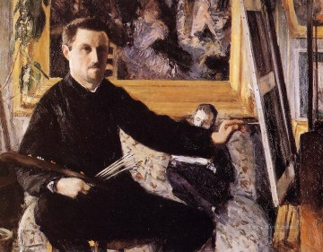Self Portrait with Easel Gustave Caillebotte Oil Paintings