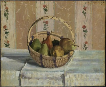 pears Oil Painting - apples and pears in a round basket 1872 Camille Pissarro