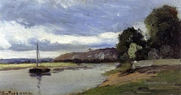 Camille Pissarro Painting - banks of a river with barge Camille Pissarro