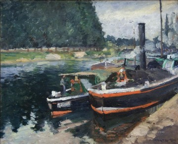 barges on pontoise 1872 Camille Pissarro Oil Paintings