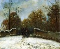 entering the forest of marly snow effect Camille Pissarro