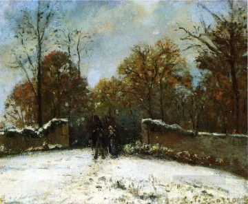 Rest Painting - entering the forest of marly snow effect Camille Pissarro