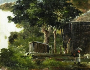 thomas - landscape with house in the woods in saint thomas antilles Camille Pissarro