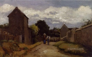 cross - male and female peasants on a path crossing the countryside Camille Pissarro