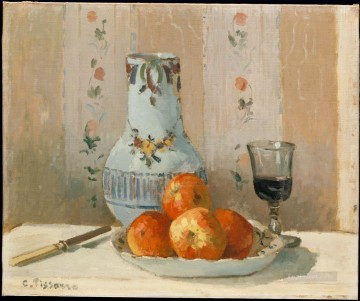Apples Art - still life with apples and pitcher 1872 Camille Pissarro