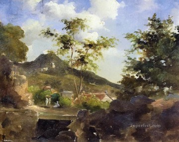 Camille Pissarro Painting - village at the foot of a hill in saint thomas antilles Camille Pissarro