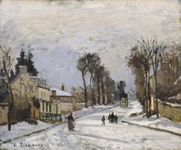 Road Oil Painting - Road to Versailles at Louveciennes 1869 Camille Pissarro