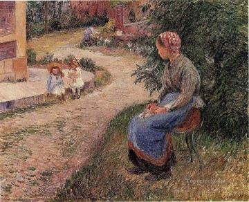 seated Art - a servant seated in the garden at eragny 1884 Camille Pissarro