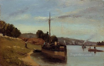 barges at le roche guyon 1865 Camille Pissarro Oil Paintings